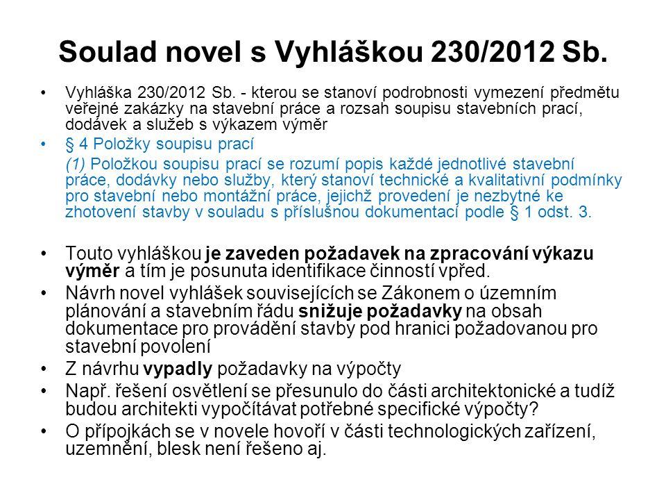 Soulad novel s Vyhláškou 230/2012 Sb. Vyhláška 230/2012 Sb. - kterou se stanoví podrobnosti vymezení předmětu veřejné zakázky na stavební práce a rozs