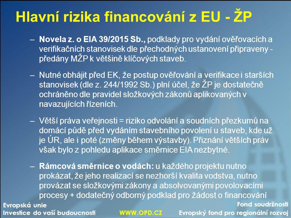 Fond soudržnosti Evropský fond pro regionální rozvoj Evropská unie Investice do vaší budoucnosti WWW.OPD.CZ Hlavní rizika financování z EU - ŽP –Novel