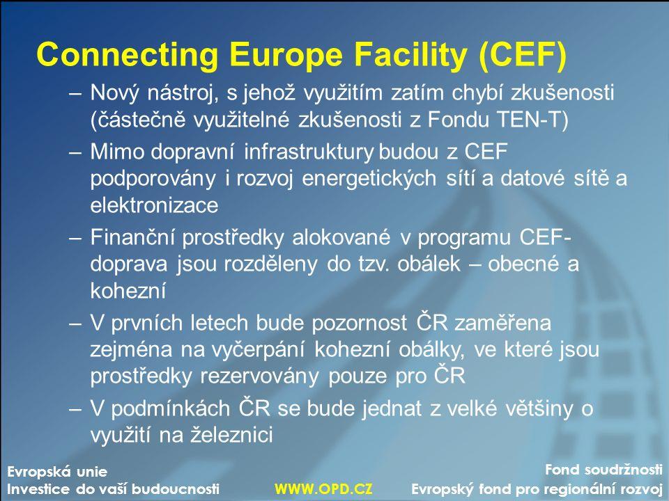 Fond soudržnosti Evropský fond pro regionální rozvoj Evropská unie Investice do vaší budoucnosti WWW.OPD.CZ Connecting Europe Facility (CEF) –Nový nástroj, s jehož využitím zatím chybí zkušenosti (částečně využitelné zkušenosti z Fondu TEN-T) –Mimo dopravní infrastruktury budou z CEF podporovány i rozvoj energetických sítí a datové sítě a elektronizace –Finanční prostředky alokované v programu CEF- doprava jsou rozděleny do tzv.