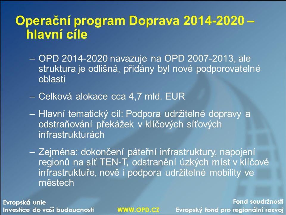 Fond soudržnosti Evropský fond pro regionální rozvoj Evropská unie Investice do vaší budoucnosti WWW.OPD.CZ Operační program Doprava 2014-2020 – hlavní cíle –OPD 2014-2020 navazuje na OPD 2007-2013, ale struktura je odlišná, přidány byl nové podporovatelné oblasti –Celková alokace cca 4,7 mld.
