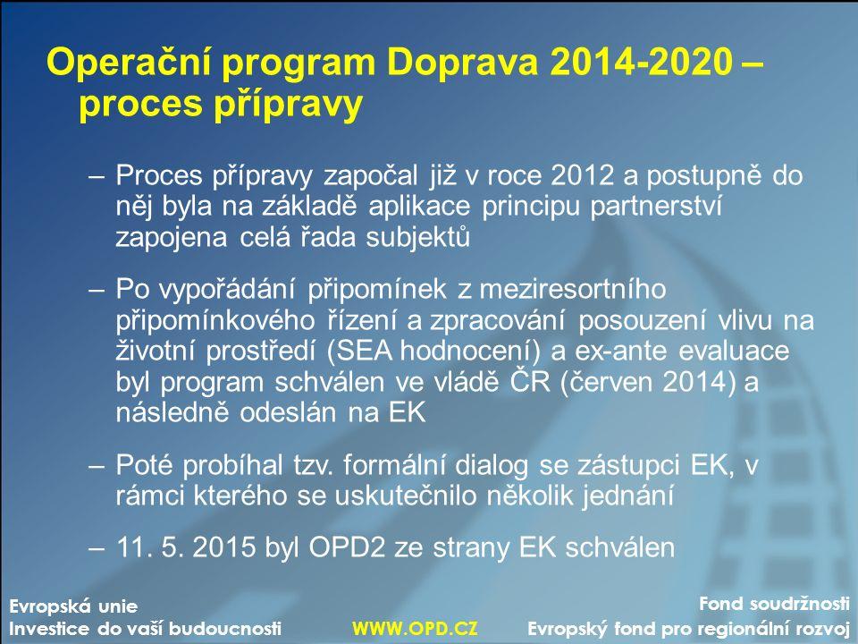 Fond soudržnosti Evropský fond pro regionální rozvoj Evropská unie Investice do vaší budoucnosti WWW.OPD.CZ Operační program Doprava 2014-2020 – proces přípravy –Proces přípravy započal již v roce 2012 a postupně do něj byla na základě aplikace principu partnerství zapojena celá řada subjektů –Po vypořádání připomínek z meziresortního připomínkového řízení a zpracování posouzení vlivu na životní prostředí (SEA hodnocení) a ex-ante evaluace byl program schválen ve vládě ČR (červen 2014) a následně odeslán na EK –Poté probíhal tzv.