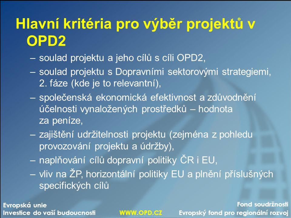 Fond soudržnosti Evropský fond pro regionální rozvoj Evropská unie Investice do vaší budoucnosti WWW.OPD.CZ Hlavní kritéria pro výběr projektů v OPD2 –soulad projektu a jeho cílů s cíli OPD2, –soulad projektu s Dopravními sektorovými strategiemi, 2.