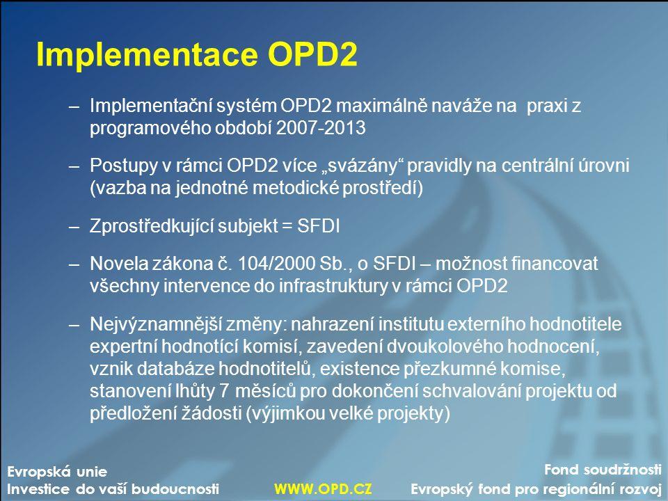 """Fond soudržnosti Evropský fond pro regionální rozvoj Evropská unie Investice do vaší budoucnosti WWW.OPD.CZ Implementace OPD2 –Implementační systém OPD2 maximálně naváže na praxi z programového období 2007-2013 –Postupy v rámci OPD2 více """"svázány pravidly na centrální úrovni (vazba na jednotné metodické prostředí) –Zprostředkující subjekt = SFDI –Novela zákona č."""