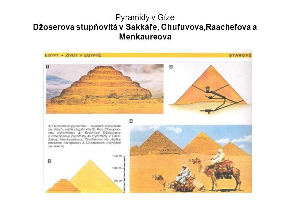 Pyramidy v Gíze Džoserova stupňovitá v Sakkáře, Chufuvova,Raachefova a Menkaureova