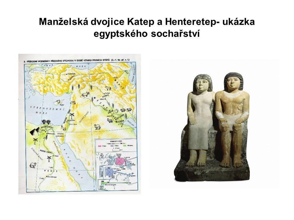 Manželská dvojice Katep a Henteretep- ukázka egyptského sochařství