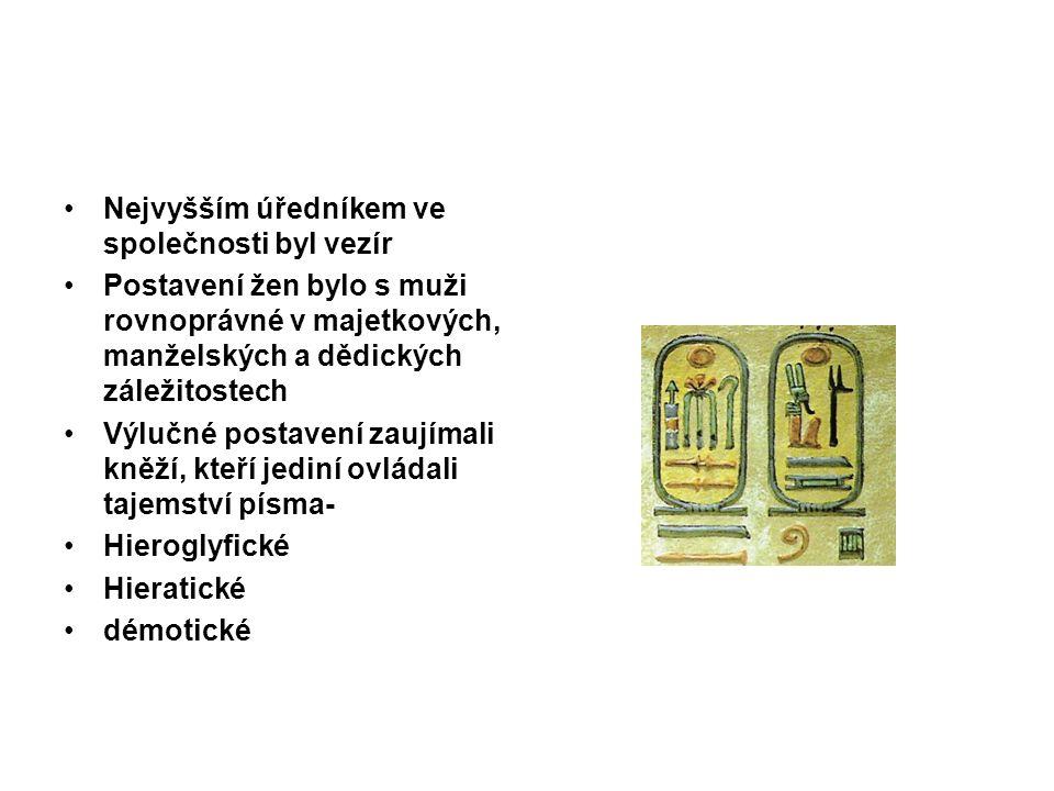 Nejvyšším úředníkem ve společnosti byl vezír Postavení žen bylo s muži rovnoprávné v majetkových, manželských a dědických záležitostech Výlučné postavení zaujímali kněží, kteří jediní ovládali tajemství písma- Hieroglyfické Hieratické démotické