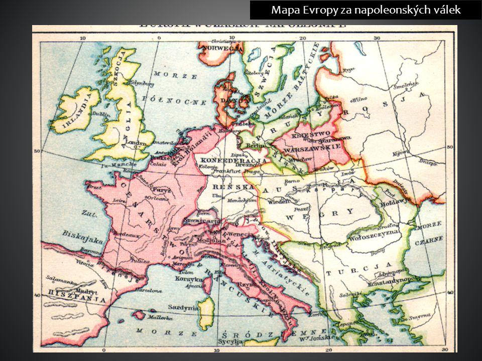 Mapa Evropy za napoleonských válek