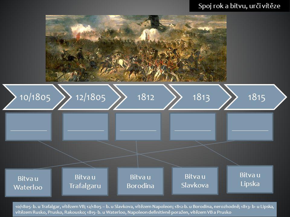 Spoj rok a bitvu, urči vítěze __________ Bitva u Trafalgaru Bitva u Borodina Bitva u Slavkova Bitva u Lipska Bitva u Waterloo 10/1805- b. u Trafalgar,