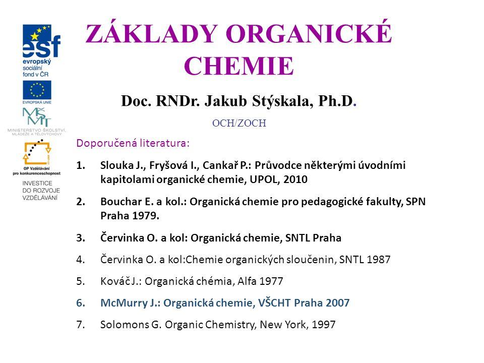 Vývoj organické chemie První zkušenosti: pivo, víno, ocet, cukr, oleje… Izoloce organických látek z živé přírody: kyselina vinná, močovina, morfin Rozdělení chemie na živou (organickou) a neživou (anorganickou) Typické rysy organických látek: Citlivost ke zvýšené teplotě, omezená rozpustnost ve vodě, výskyt určitých prvků: C, H, N, S, O event.