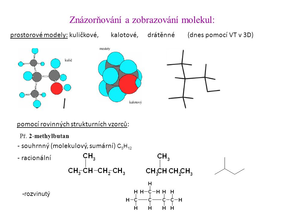 pomocí rovinných strukturních vzorců: Znázorňování a zobrazování molekul: prostorové modely: kuličkové,kalotové,drátěnné (dnes pomocí VT v 3D) - racionální - souhrnný (molekulový, sumární) C 5 H 12 -rozvinutý Př.