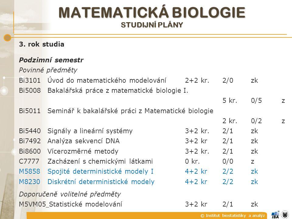 © Institut biostatistiky a analýz MATEMATICKÁ BIOLOGIE STUDIJNÍ PLÁNY 3. rok studia Podzimní semestr Povinné předměty Bi3101Úvod do matematického mode