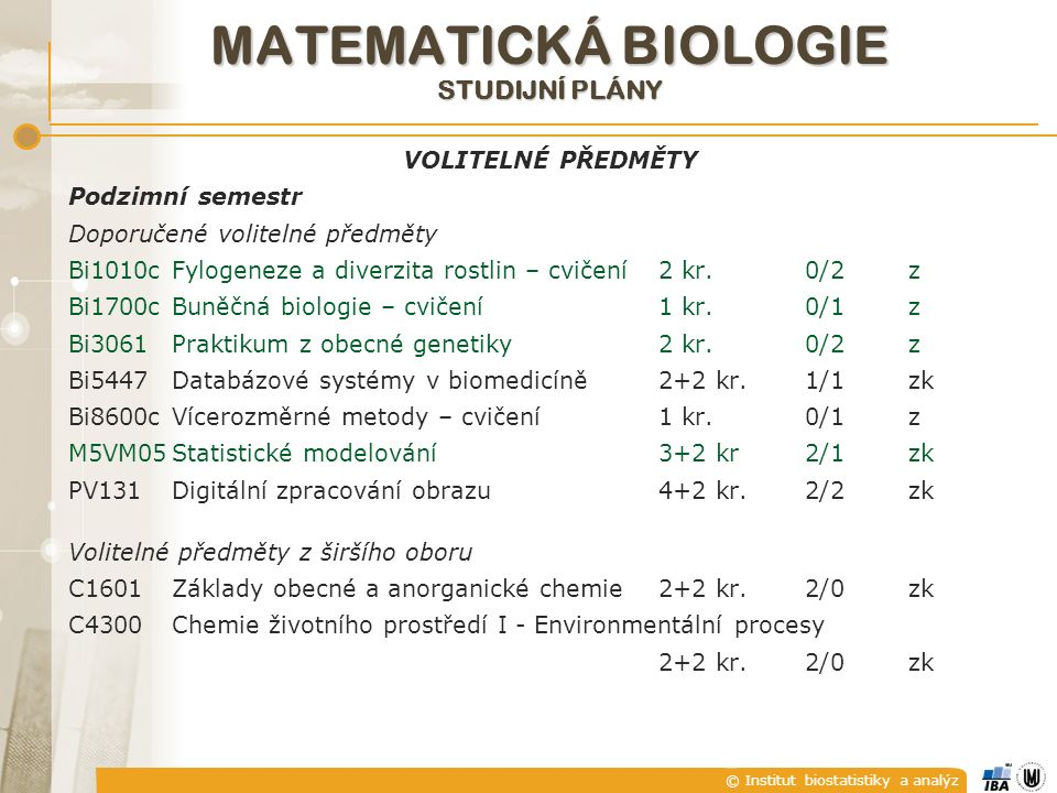 © Institut biostatistiky a analýz MATEMATICKÁ BIOLOGIE STUDIJNÍ PLÁNY VOLITELNÉ PŘEDMĚTY Podzimní semestr Doporučené volitelné předměty Bi1010cFylogen