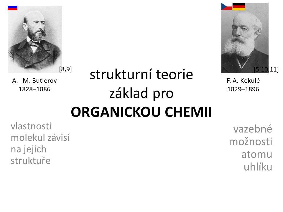 strukturní teorie základ pro ORGANICKOU CHEMII vlastnosti molekul závisí na jejich struktuře vazebné možnosti atomu uhlíku A.M. Butlerov 1828–1886 F.