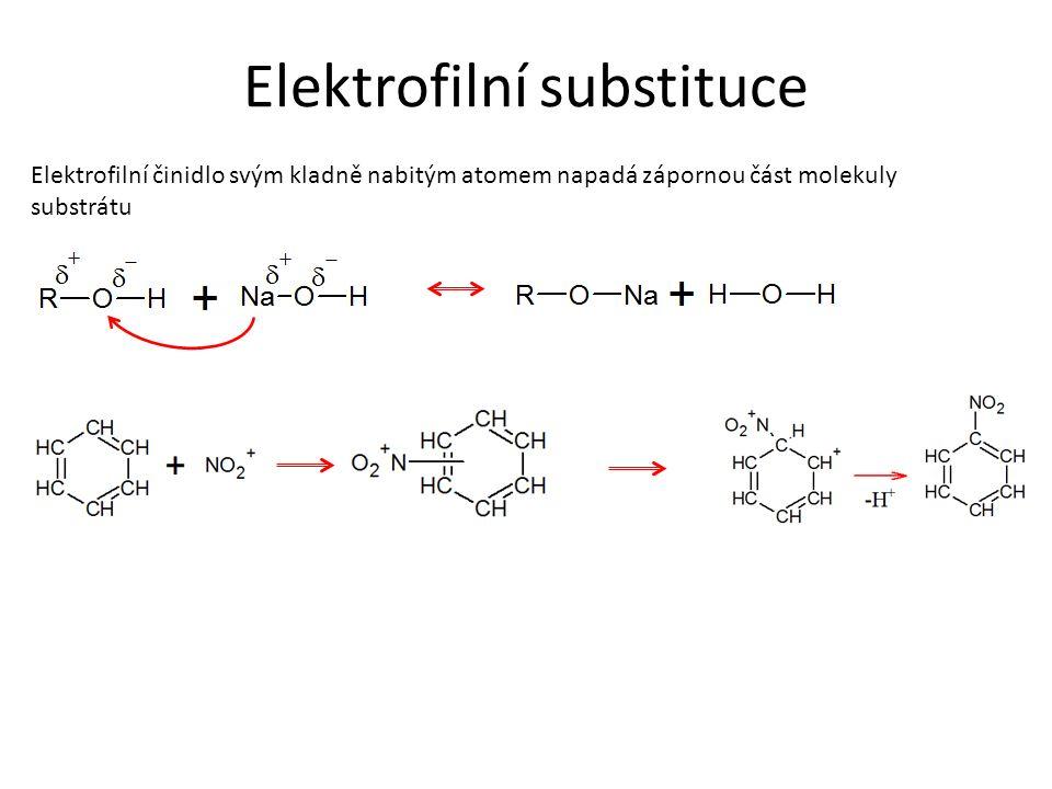 Elektrofilní substituce Elektrofilní činidlo svým kladně nabitým atomem napadá zápornou část molekuly substrátu