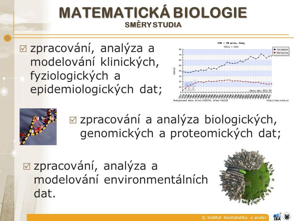 © Institut biostatistiky a analýz MATEMATICKÁ BIOLOGIE SM Ě RY STUDIA  zpracování, analýza a modelování klinických, fyziologických a epidemiologických dat;  zpracování a analýza biologických, genomických a proteomických dat;  zpracování, analýza a modelování environmentálních dat.