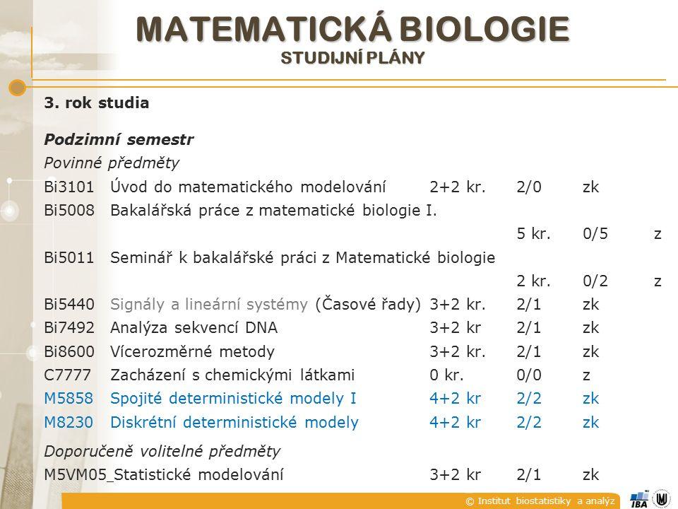 © Institut biostatistiky a analýz MATEMATICKÁ BIOLOGIE STUDIJNÍ PLÁNY 3.