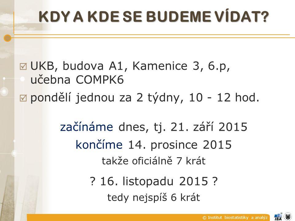 © Institut biostatistiky a analýz KDY A KDE SE BUDEME VÍDAT.