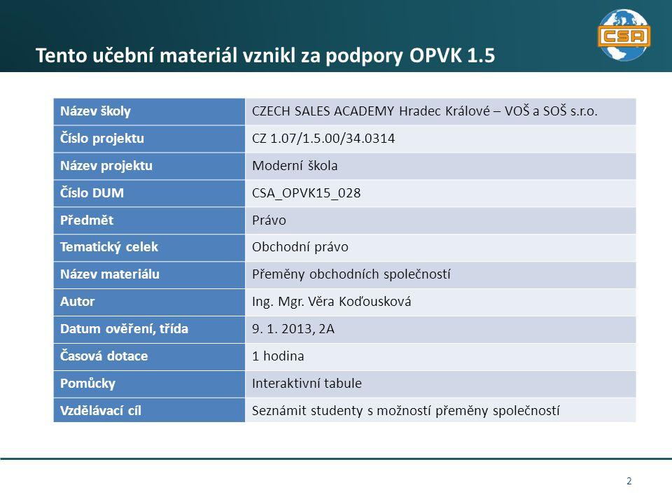 2 Tento učební materiál vznikl za podpory OPVK 1.5 Název školyCZECH SALES ACADEMY Hradec Králové – VOŠ a SOŠ s.r.o. Číslo projektuCZ 1.07/1.5.00/34.03