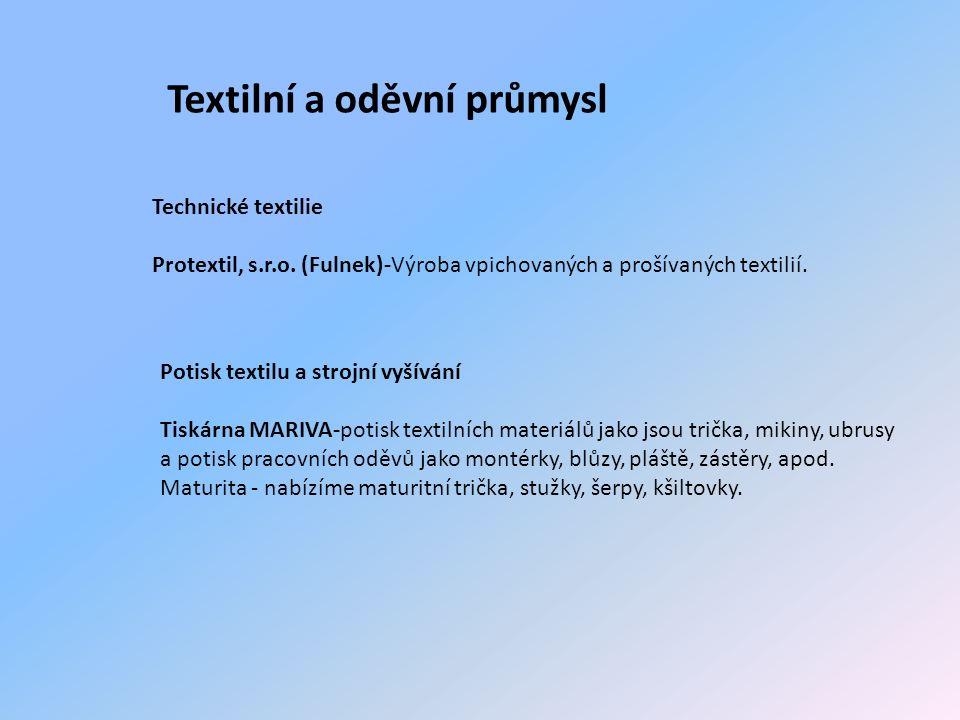Textilní a oděvní průmysl Technické textilie Protextil, s.r.o.