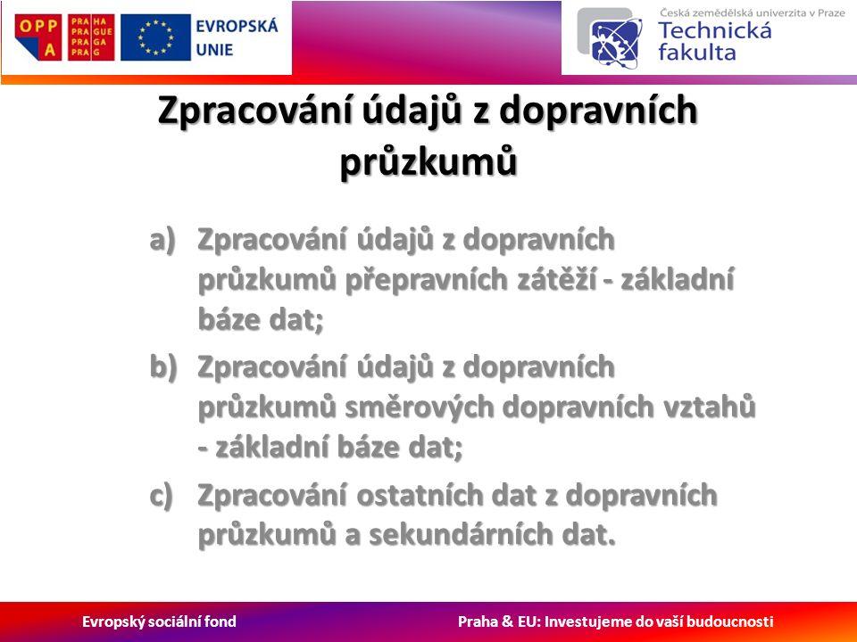 Evropský sociální fond Praha & EU: Investujeme do vaší budoucnosti Zpracování údajů z dopravních průzkumů a)Zpracování údajů z dopravních průzkumů přepravních zátěží - základní báze dat; b)Zpracování údajů z dopravních průzkumů směrových dopravních vztahů - základní báze dat; c)Zpracování ostatních dat z dopravních průzkumů a sekundárních dat.