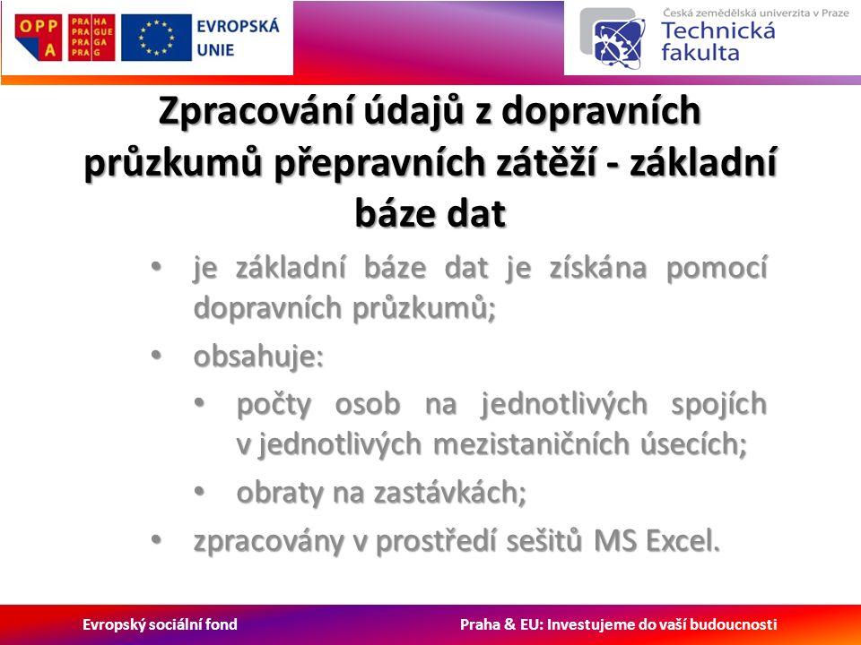 Evropský sociální fond Praha & EU: Investujeme do vaší budoucnosti Zpracování údajů z dopravních průzkumů přepravních zátěží - základní báze dat je základní báze dat je získána pomocí dopravních průzkumů; je základní báze dat je získána pomocí dopravních průzkumů; obsahuje: obsahuje: počty osob na jednotlivých spojích v jednotlivých mezistaničních úsecích; počty osob na jednotlivých spojích v jednotlivých mezistaničních úsecích; obraty na zastávkách; obraty na zastávkách; zpracovány v prostředí sešitů MS Excel.