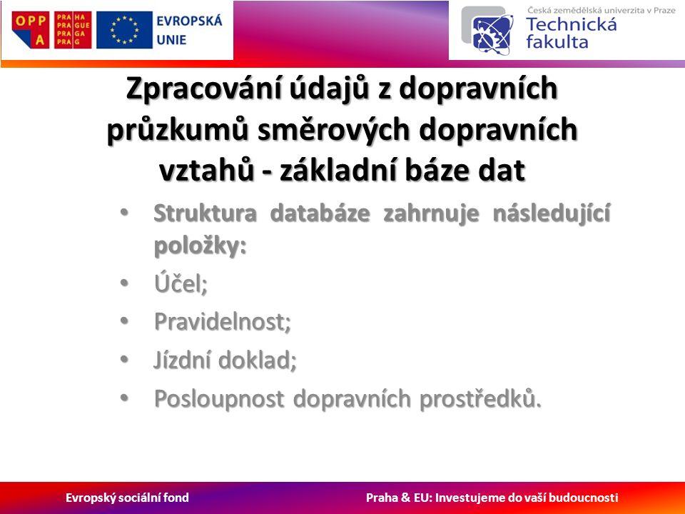 Evropský sociální fond Praha & EU: Investujeme do vaší budoucnosti Zpracování údajů z dopravních průzkumů směrových dopravních vztahů - základní báze dat Struktura databáze zahrnuje následující položky: Struktura databáze zahrnuje následující položky: Účel; Účel; Pravidelnost; Pravidelnost; Jízdní doklad; Jízdní doklad; Posloupnost dopravních prostředků.