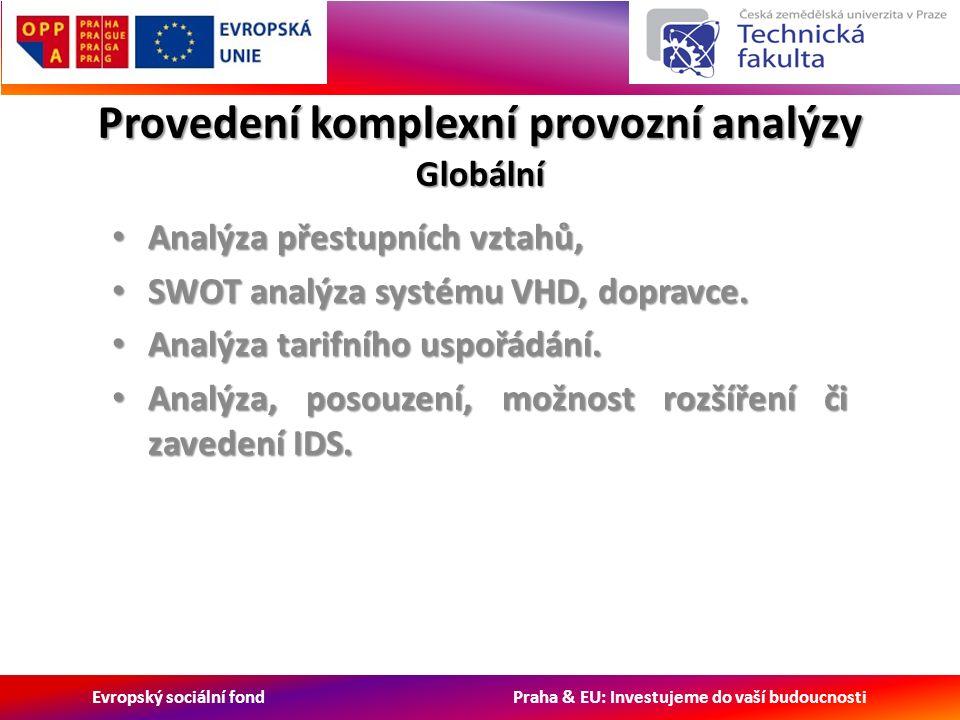 Evropský sociální fond Praha & EU: Investujeme do vaší budoucnosti Provedení komplexní provozní analýzy Globální Analýza přestupních vztahů, Analýza přestupních vztahů, SWOT analýza systému VHD, dopravce.