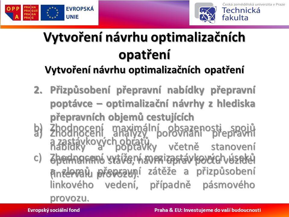 Evropský sociální fond Praha & EU: Investujeme do vaší budoucnosti b)Zhodnocení maximální obsazenosti spojů a zastávkových obratů.
