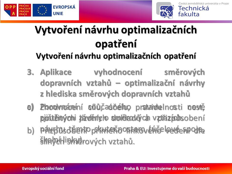 Evropský sociální fond Praha & EU: Investujeme do vaší budoucnosti c)Zhodnocení cílů, účelu, pravidelnosti cest, použitých jízdních dokladů a přizpůsobení návrhu těmto skutečnostem (účelové spoje, školní linky).