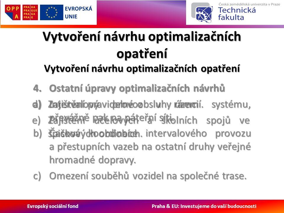 Evropský sociální fond Praha & EU: Investujeme do vaší budoucnosti d)Zajištění pravidelné obsluhy území.