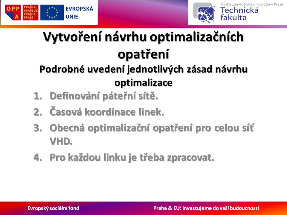 Evropský sociální fond Praha & EU: Investujeme do vaší budoucnosti Vytvoření návrhu optimalizačních opatření Podrobné uvedení jednotlivých zásad návrhu optimalizace 1.Definování páteřní sítě.