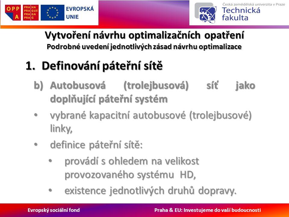 Evropský sociální fond Praha & EU: Investujeme do vaší budoucnosti Vytvoření návrhu optimalizačních opatření Podrobné uvedení jednotlivých zásad návrhu optimalizace b)Autobusová (trolejbusová) síť jako doplňující páteřní systém vybrané kapacitní autobusové (trolejbusové) linky, vybrané kapacitní autobusové (trolejbusové) linky, definice páteřní sítě: definice páteřní sítě: provádí s ohledem na velikost provozovaného systému HD, provádí s ohledem na velikost provozovaného systému HD, existence jednotlivých druhů dopravy.