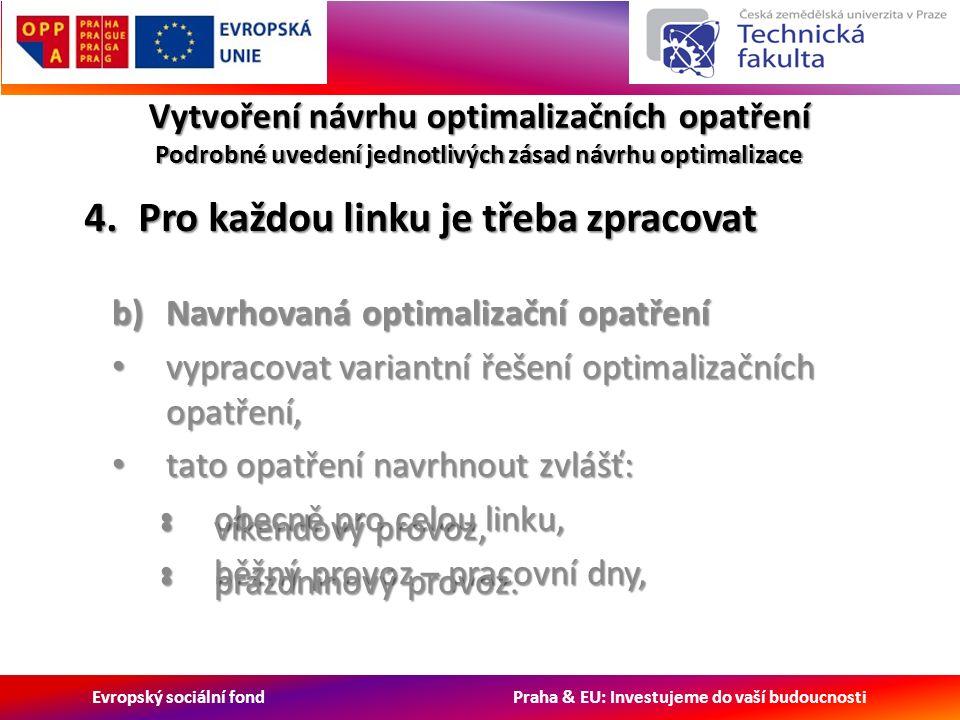 Evropský sociální fond Praha & EU: Investujeme do vaší budoucnosti Vytvoření návrhu optimalizačních opatření Podrobné uvedení jednotlivých zásad návrhu optimalizace b)Navrhovaná optimalizační opatření vypracovat variantní řešení optimalizačních opatření, vypracovat variantní řešení optimalizačních opatření, tato opatření navrhnout zvlášť: tato opatření navrhnout zvlášť: obecně pro celou linku, obecně pro celou linku, běžný provoz – pracovní dny, běžný provoz – pracovní dny, 4.Pro každou linku je třeba zpracovat víkendový provoz, víkendový provoz, prázdninový provoz.