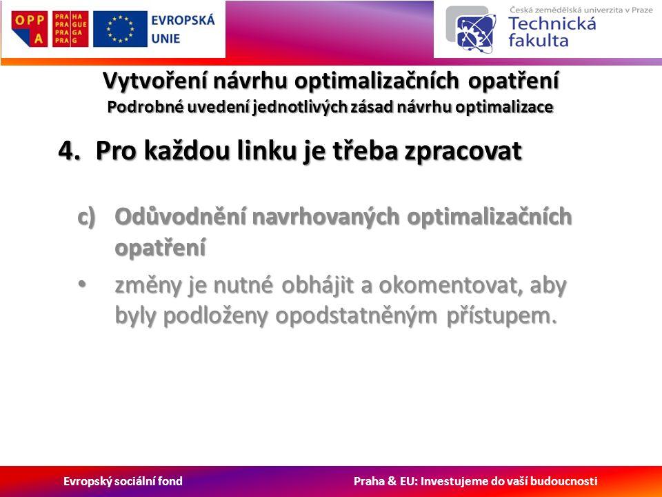 Evropský sociální fond Praha & EU: Investujeme do vaší budoucnosti Vytvoření návrhu optimalizačních opatření Podrobné uvedení jednotlivých zásad návrhu optimalizace c)Odůvodnění navrhovaných optimalizačních opatření změny je nutné obhájit a okomentovat, aby byly podloženy opodstatněným přístupem.