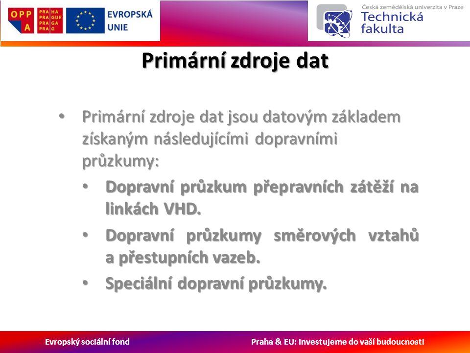 Evropský sociální fond Praha & EU: Investujeme do vaší budoucnosti Primární zdroje dat Primární zdroje dat jsou datovým základem získaným následujícími dopravními průzkumy: Primární zdroje dat jsou datovým základem získaným následujícími dopravními průzkumy: Dopravní průzkum přepravních zátěží na linkách VHD.