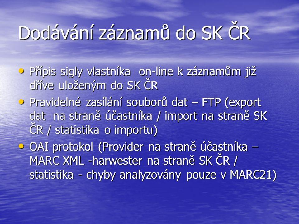 Dodávání záznamů do SK ČR Přípis sigly vlastníka on-line k záznamům již dříve uloženým do SK ČR Přípis sigly vlastníka on-line k záznamům již dříve ul