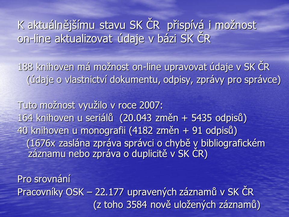 K aktuálnějšímu stavu SK ČR přispívá i možnost on-line aktualizovat údaje v bázi SK ČR 188 knihoven má možnost on-line upravovat údaje v SK ČR (údaje