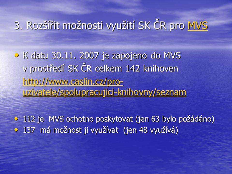 3. Rozšířit možnosti využití SK ČR pro MVS MVS K datu 30.11. 2007 je zapojeno do MVS K datu 30.11. 2007 je zapojeno do MVS v prostředí SK ČR celkem 14