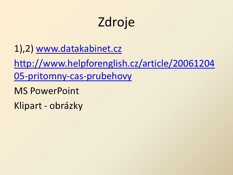 Zdroje 1),2) www.datakabinet.czwww.datakabinet.cz http://www.helpforenglish.cz/article/20061204 05-pritomny-cas-prubehovy MS PowerPoint Klipart - obrázky