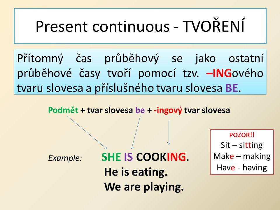 Present continuous - TVOŘENÍ Přítomný čas průběhový se jako ostatní průběhové časy tvoří pomocí tzv.