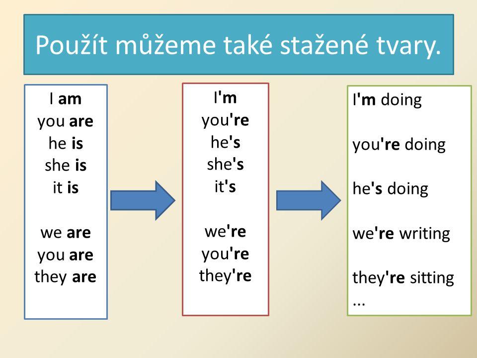 Present continuous - ZÁPOR Zápor se tvoří velmi snadno, pouze za tvar slovesa be přidáme záporku not.