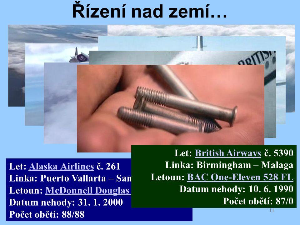 11/2009Přednáška č. 411 Let: Alaska Airlines č. 261 Linka: Puerto Vallarta – San Francisko Letoun: McDonnell Douglas MD-83 Datum nehody: 31. 1. 2000 P