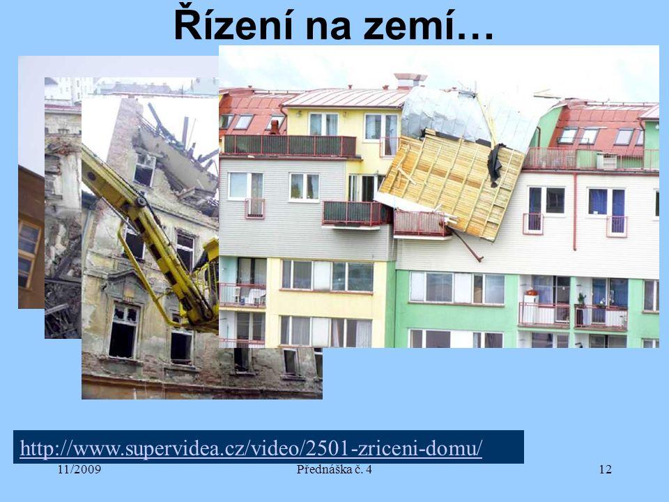 11/2009Přednáška č. 412 Řízení na zemí… http://www.supervidea.cz/video/2501-zriceni-domu/