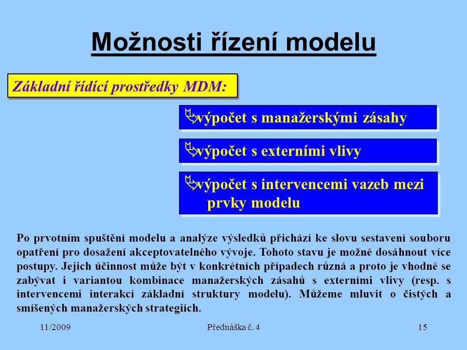 11/2009Přednáška č. 415 Možnosti řízení modelu Základní řídící prostředky MDM:  výpočet s manažerskými zásahy  výpočet s externími vlivy  výpočet s