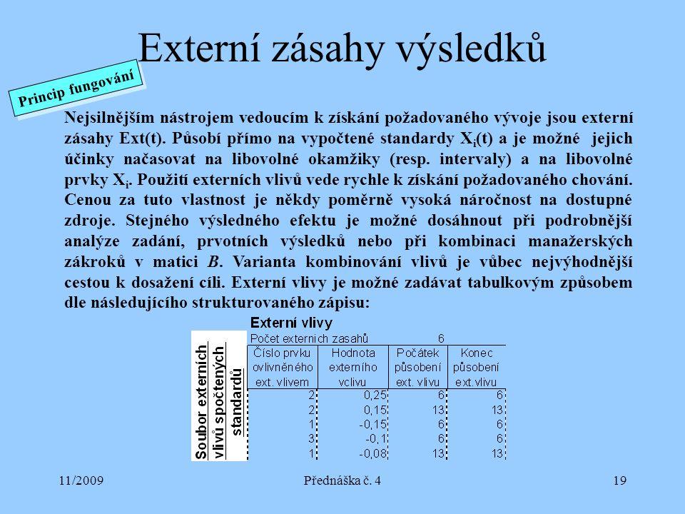 11/2009Přednáška č. 419 Externí zásahy výsledků Nejsilnějším nástrojem vedoucím k získání požadovaného vývoje jsou externí zásahy Ext(t). Působí přímo