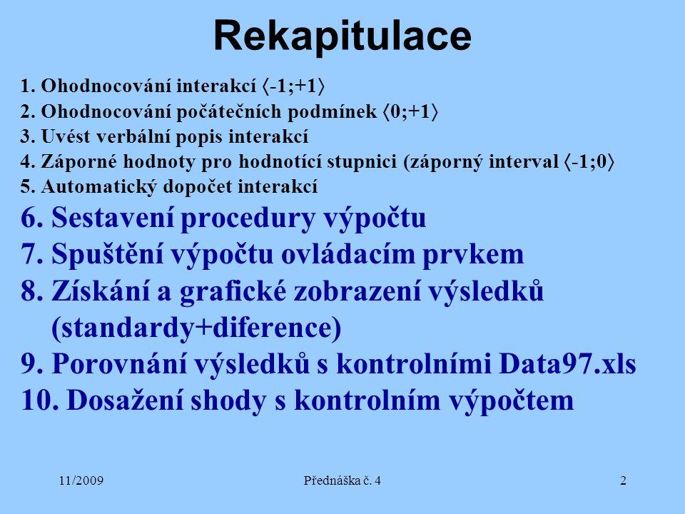 11/2009Přednáška č. 42 Rekapitulace 1. Ohodnocování interakcí  -1;+1  2. Ohodnocování počátečních podmínek  0;+1  3. Uvést verbální popis interakc
