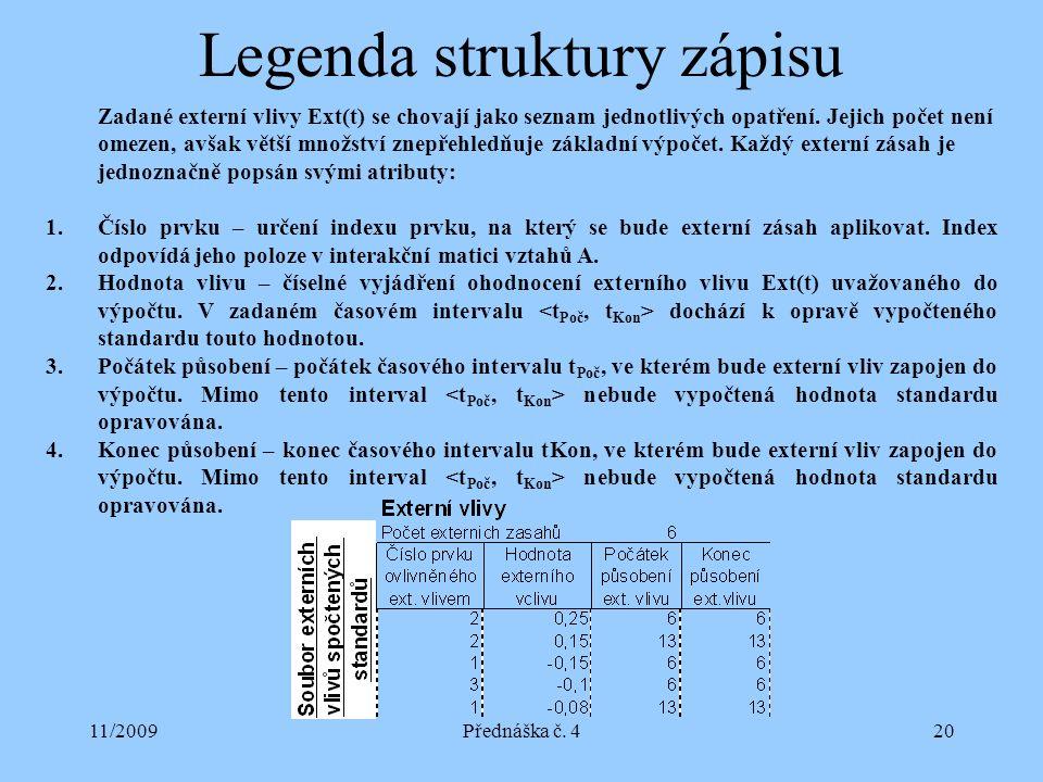 11/2009Přednáška č. 420 Legenda struktury zápisu Zadané externí vlivy Ext(t) se chovají jako seznam jednotlivých opatření. Jejich počet není omezen, a