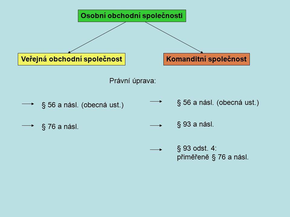 Osobní obchodní společnosti Veřejná obchodní společnostKomanditní společnost Právní úprava: § 56 a násl.