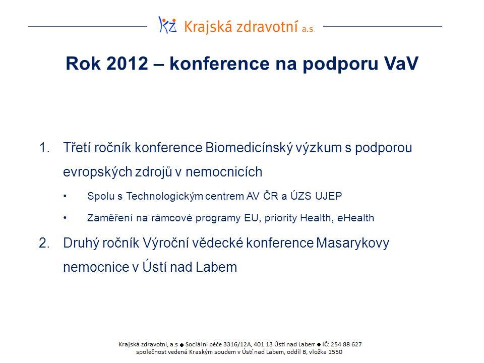 Rok 2012 – konference na podporu VaV 1.Třetí ročník konference Biomedicínský výzkum s podporou evropských zdrojů v nemocnicích Spolu s Technologickým centrem AV ČR a ÚZS UJEP Zaměření na rámcové programy EU, priority Health, eHealth 2.Druhý ročník Výroční vědecké konference Masarykovy nemocnice v Ústí nad Labem