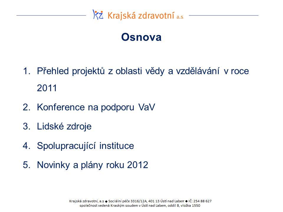 Osnova 1.Přehled projektů z oblasti vědy a vzdělávání v roce 2011 2.Konference na podporu VaV 3.Lidské zdroje 4.Spolupracující instituce 5.Novinky a plány roku 2012